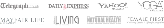 Logos: Telegraph, Daily Express, Yahoo, Yoga Magazine, Mayfair Life, Living, Natural Health, Female First